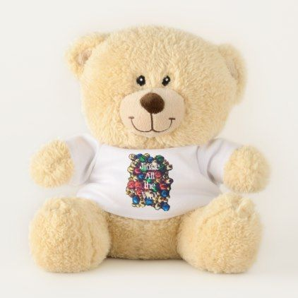 Jingle All the Way Multi-Color Small Teddy Bear - home gifts ideas decor special unique custom individual customized individualized