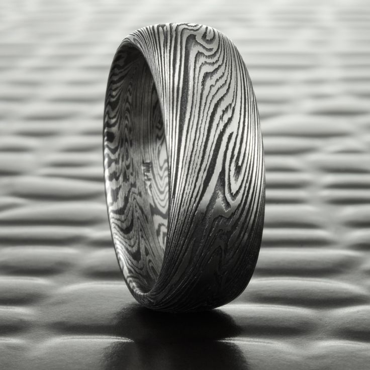 Wide Titanium and Black Zirconium Mokume Gane in a 7mm Domed Wedding Band | DARK WOOD