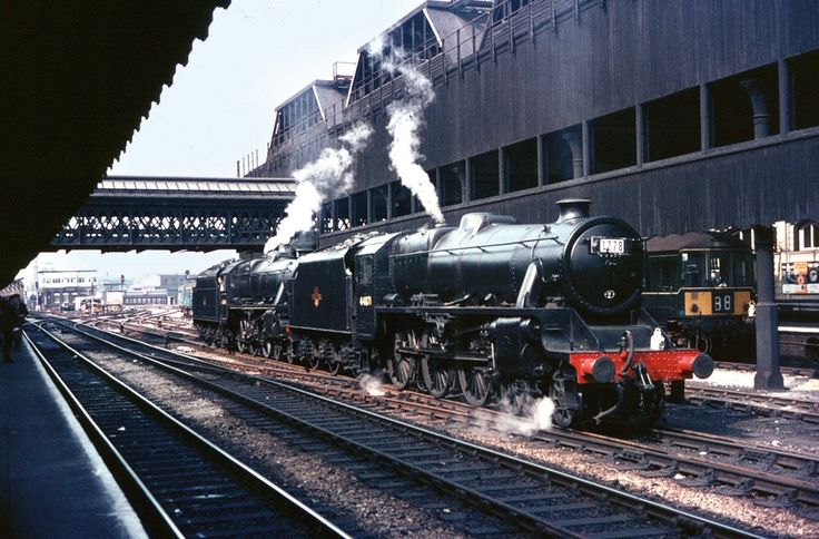 44871 and No. 44894: The bitter end - August 4th 1968 - the last day of regular BR steam working. Waiting to take over special train 1Z78 (the first of two SLS specials from Birmingham) Stanier Black 5s No. 44871 and No. 44894 await the arrival of the train at Manchester Victoria.