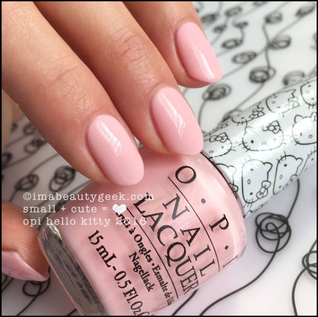 OPI Small + Cute = ❤ – OPI Hello Kitty 2016. Visit imabeautygeek.com for full collection swatches, review, and comparisons!