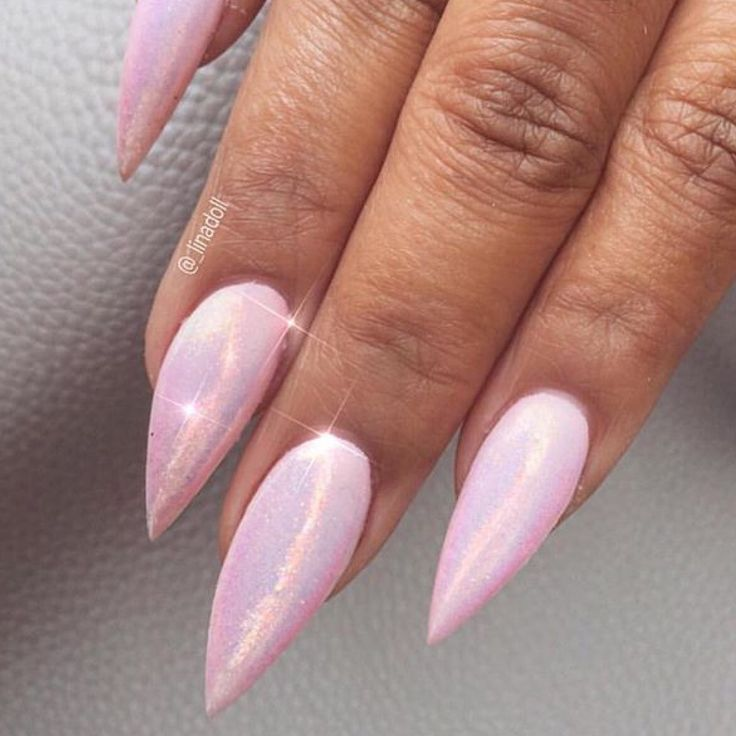 Pink hologram stilettos nails