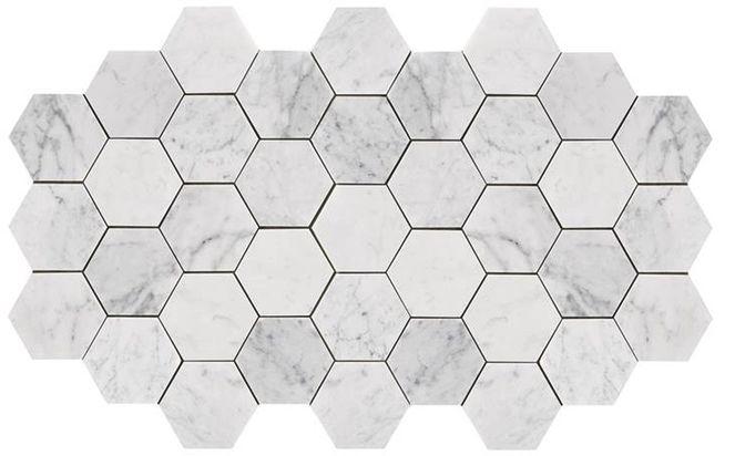 Bianco Carrara marmor i hexagoner 10x10 cm Stonefactory.se
