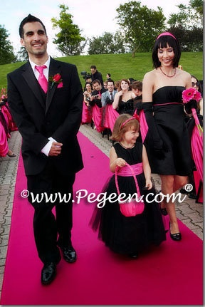 Tulle flower girl dresses in Hot Shock Pink and Black.  We loved how our customer had nearly all her guests wear black.    Tulle flower girl dress from Pegeen Couture style 402 in over 200 colors and from infants through plus sizes.