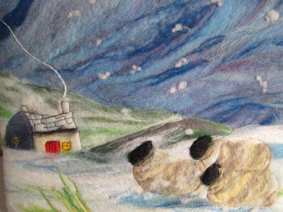 felt landscape with sheep, winter landscape, textile art, sheep picture