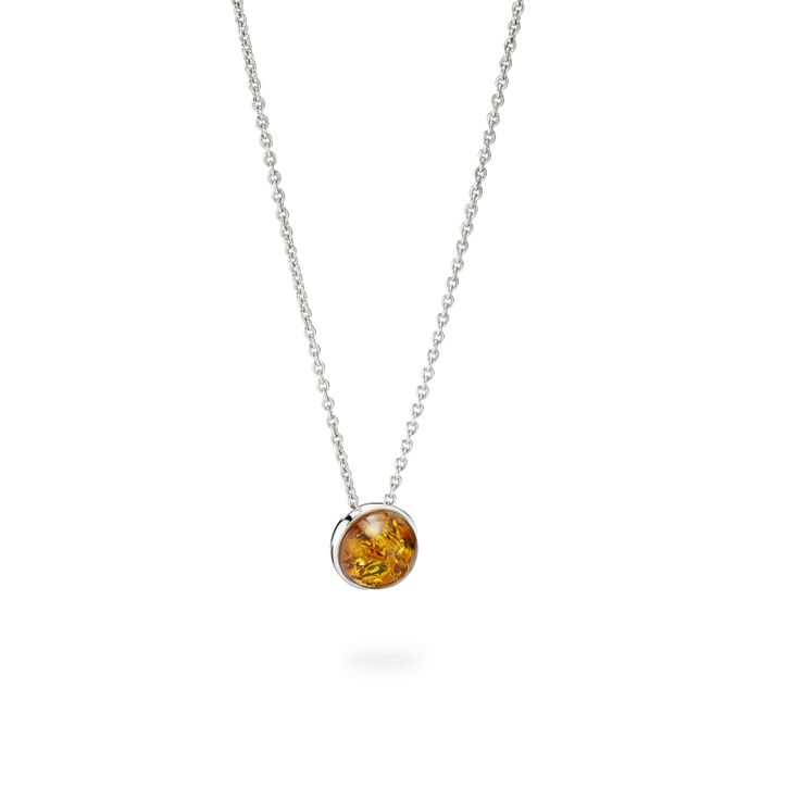 House of Amber by Louise Sigvardt - Silver pendant with amber bead.