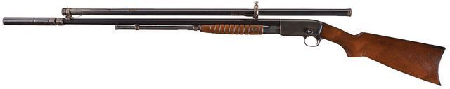 """Remington Model 12 No.2 """"Gallery Special"""" rifle Manufactured by Remington Arms Inc c.1909-36, fitted with a Maxim 'Silencer' suppressor and a Stevens scope..22RF Short 15-round tubular magazine, slide action, hammerless."""