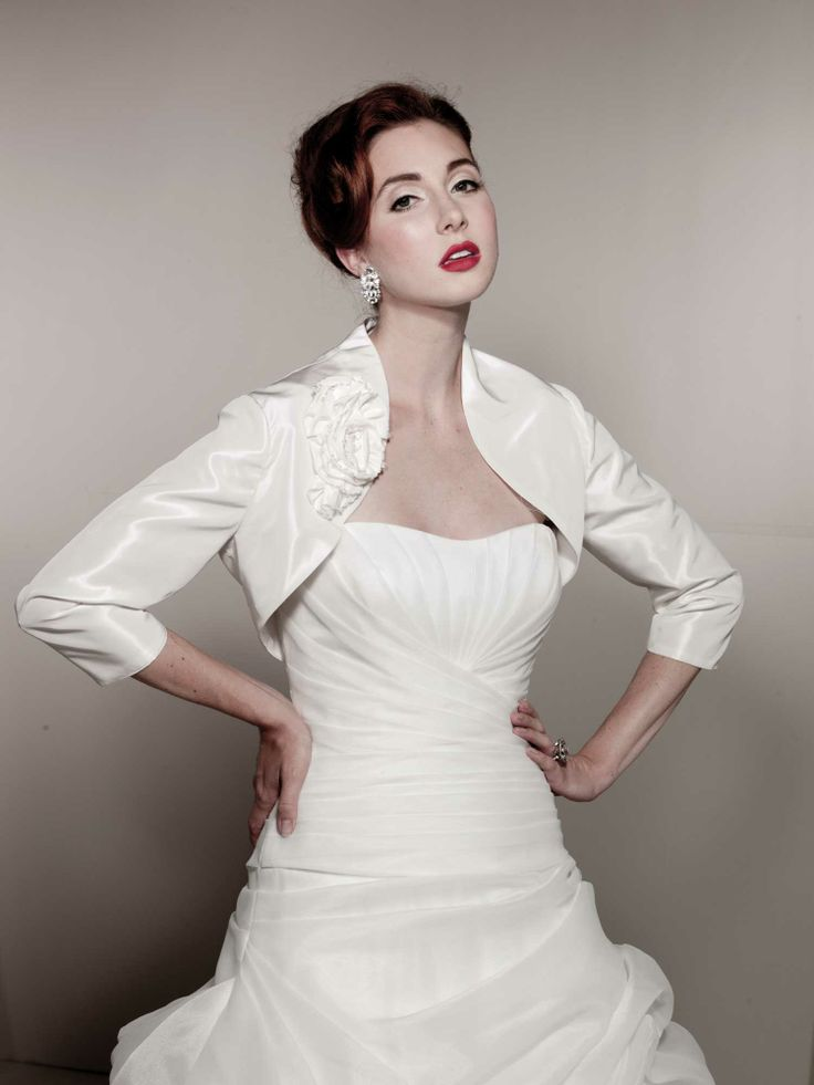 17 best images about bolero short cropped jacket on for Tea length wedding dress with bolero jacket