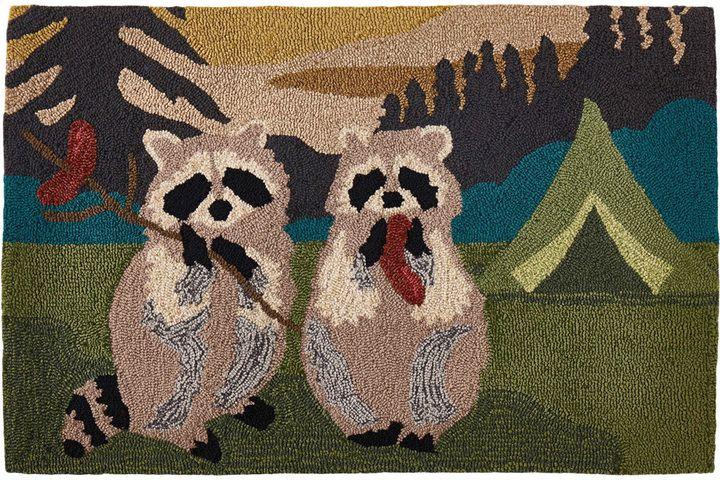 I love this raccoon doormat!   Camping Raccoons Hand-Hooked Doormat. #affiliate