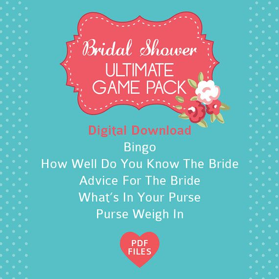 High Tea Bridal Shower Ultimate Pack- 5 activities. Bridal Bingo, What's In Your Purse, Purse Weigh In, Advice for Bride & How Well Do You Know Bride