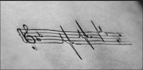 Music heart beat tattoo idea design