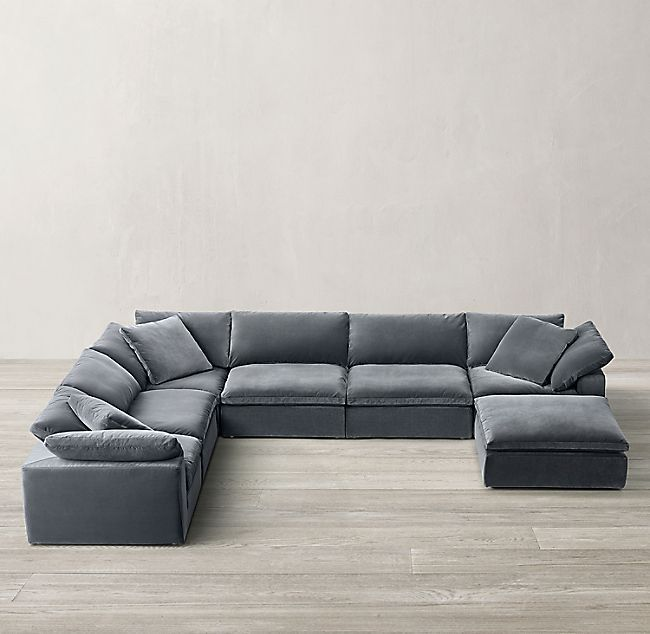 Cloud Modular U Sofa Chaise Sectional In 2020 With Images Comfortable Sectional Sofa Large Sectional Sofa Modular Sectional Sofa