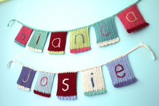 little woollie: Summer Crochet....Name Bunting (this would be great in my boys' room!)