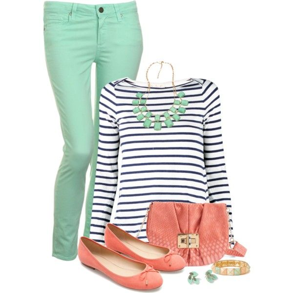 "Mint jeans, striped shirt, and coral ""Untitled #750"" by twinkle0088 on Polyvore"