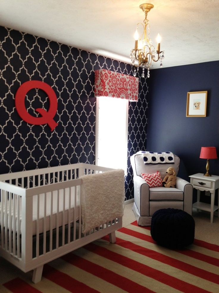 Navy is the new nursery neutral and we LOVE this stenciled accent wall!: Nurseries, Nursery Ideas, Baby Nursery, Baby Rooms, Navy Blue, Boy, Accent Walls, Kid