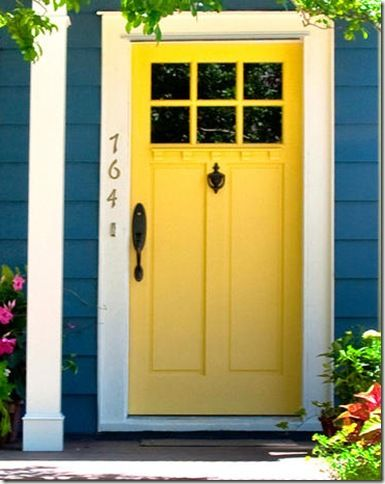 Wonderful Yellow Blue Exterior House Paint Style With Yellow Paint Color  Wooden Rectangle Tall Modern Door And Blue Awesome Building Exterior Paint  Wall  Best 25  Yellow doors ideas only on Pinterest   Yellow front doors  . Paint Exterior Door Or Trim First. Home Design Ideas