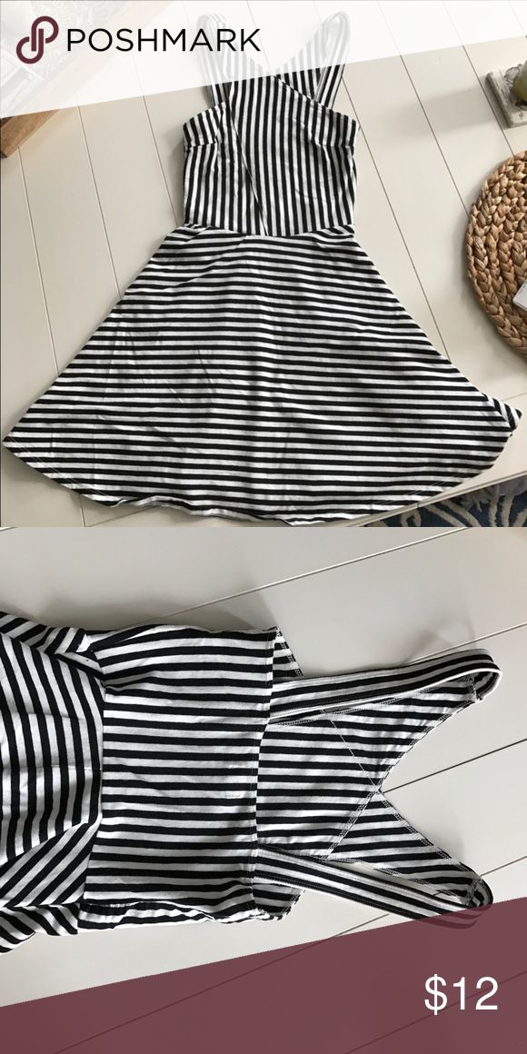 Hollister Dress Black and white stripes, beautiful shape, size XS! Only worn once! Hollister Dresses Mini