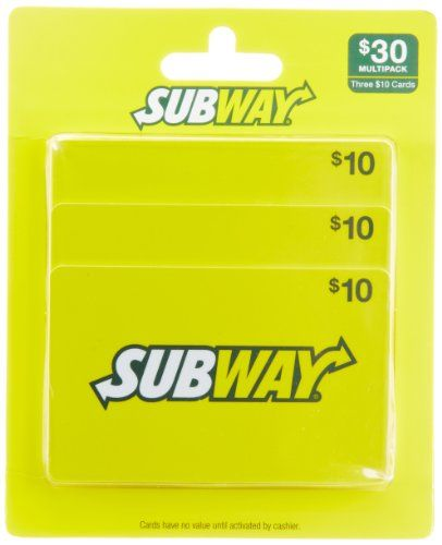 Subway Gift Cards Multipack of 3 - $10