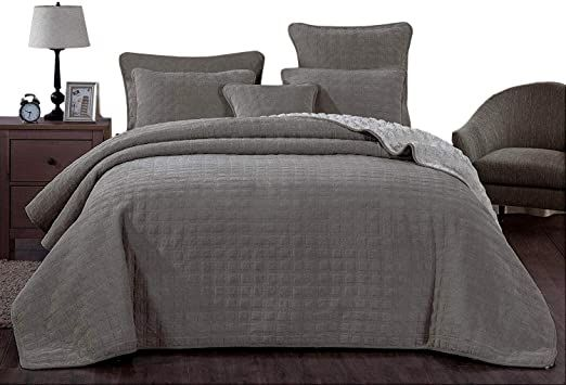 Dada Bedding Corduroy Sherpa Backside Bedspread Soft Grey Square Pattern Quilted Coverlet Set Queen 3 Pieces In 2020 Bed Spreads Quilted Coverlet Coverlet Set