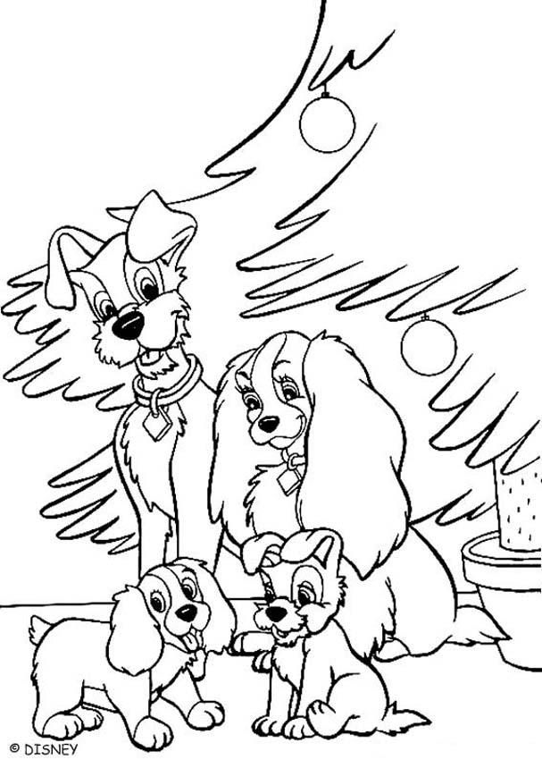 Lady And Tramp Christmas Coloring Pages For Kids Printable Free