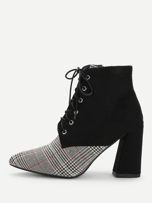 feb380886103 Houndstooth Pattern Lace-up Boots  fashion  beautiful  tops  style  women   Shoes