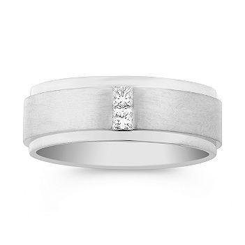 Princess Cut Diamond Wedding Band.~*~ My Dream Shane Co. Jewelry Box ~*~ Hand-selected for exceptional fire and brilliance, two princess cut diamonds, at approximately .20 carat total weight, give this masculine design a defining focal point. These exquisite gems are channel-set in superior quality 14 karat white gold with an attractive satin finish. #ShaneCoLBD