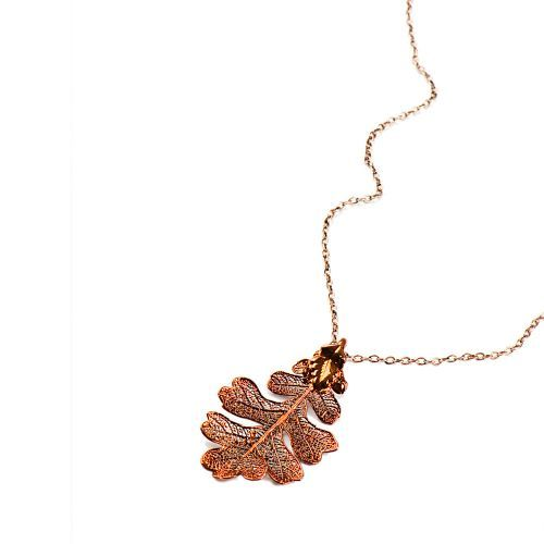 Each pendant is actually made from a real oak leaf, hand picked and selected for its perfection.