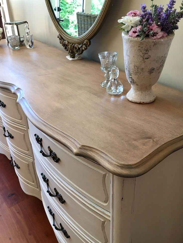 Refinished French Provincial dresser. Provincial and dark walnut stain by Minwax, sanded down and finished off with white wax. By Fynbos Co. Decor