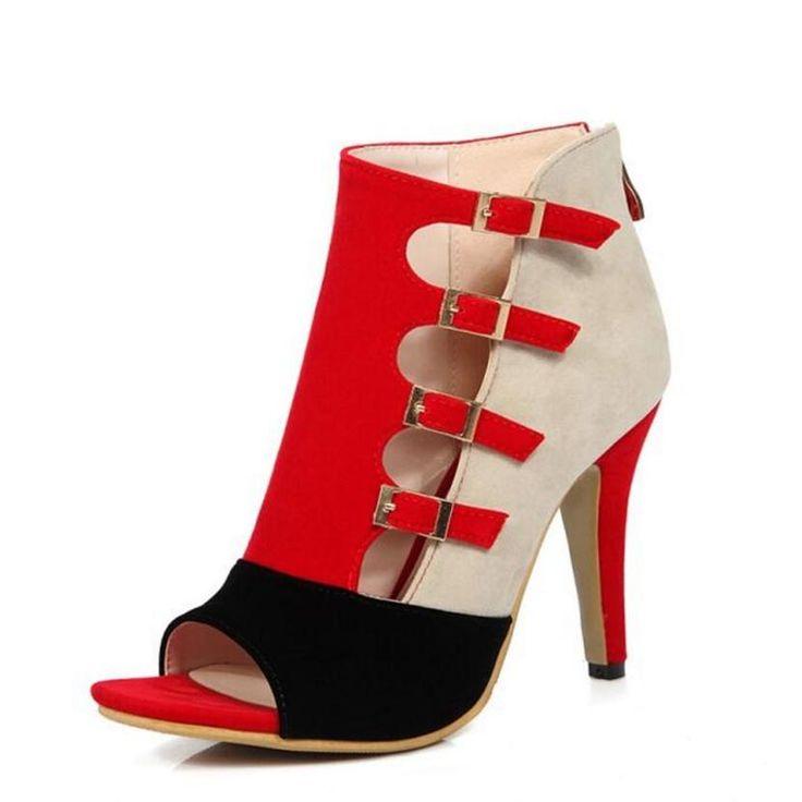 ChunSe Sandales à Talons Hauts d'été pour Femme,Chaussures Talons Hauts Crystal Straps Sandales à Plateforme éTanche, 44, Red