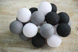 Гирлянда из хлопковых шариков смоки грей
