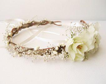 Rustic wedding hair accessories, Bridal headband, Baby's breath flower crown, Ivory headpiece, Wreath - ALBERTA