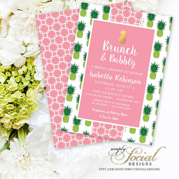 Brunch and Bubbly Preppy Golden Pineapple Pink and Green Bridal Shower Invitation Double Sided Printable