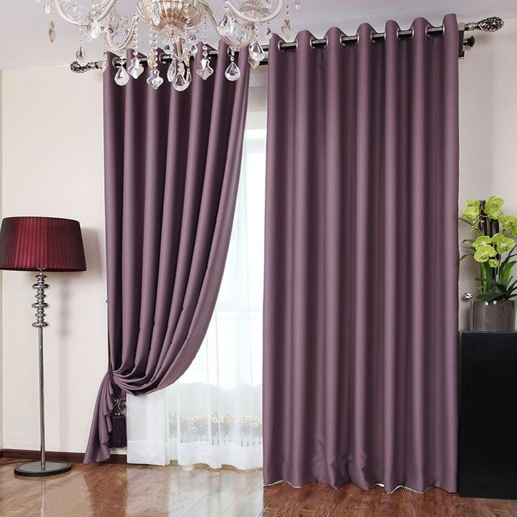 Polyester Fabric Bedroom Romantic Purple Blackout Curtains (Two ...
