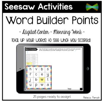 Seesaw Activities Word Builder with Points! Language