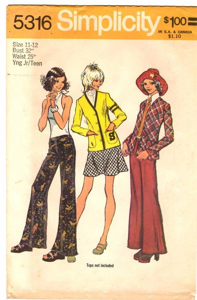 Vintage 1970s Simplicity Sewing Pattern Teen JACKET SKIRT PANTS 5316 Sz 11/12 UC #Simplicity
