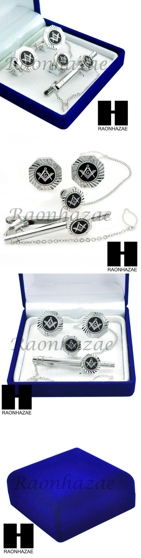Cufflinks 137843: Mens 14K White Gold Freemason Masonic Sign G Cufflinks Tie Pin Tie Clip Gift Box BUY IT NOW ONLY: $37.99