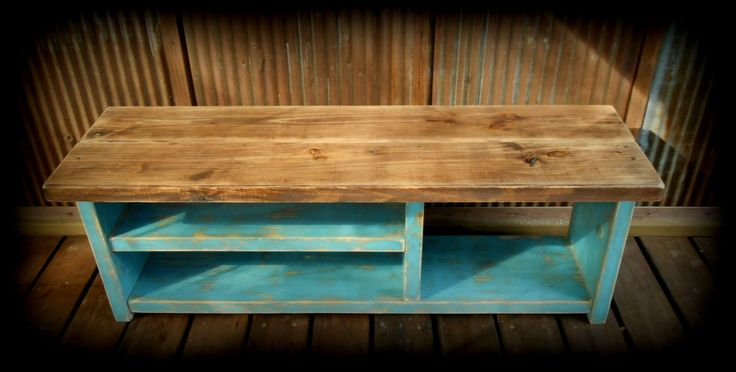 """48"""" Shoe Rack Bench with Boot Cubby - Two Tone Cloudburst by TheHenryHouse on Etsy https://www.etsy.com/listing/206361946/48-shoe-rack-bench-with-boot-cubby-two"""