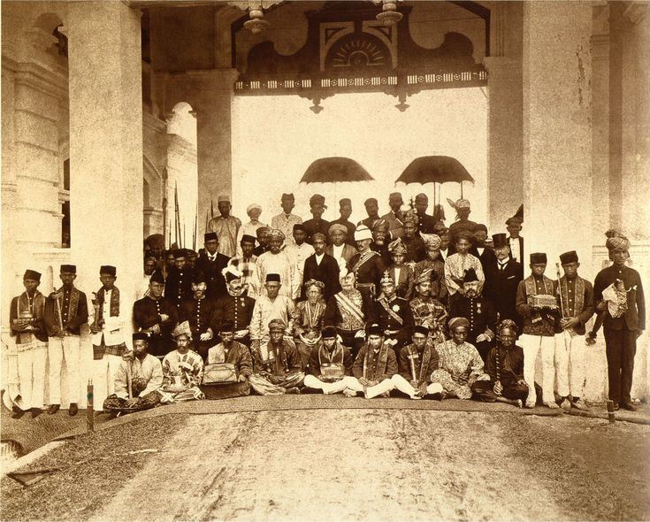 The Malay Rulers and nobilities with British colonial officers during the first Durbar, 1897.