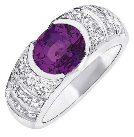 Chaumet Fidelité de Chaumet solitaire in 18-karat white gold, diamonds, set with a violet sapphire
