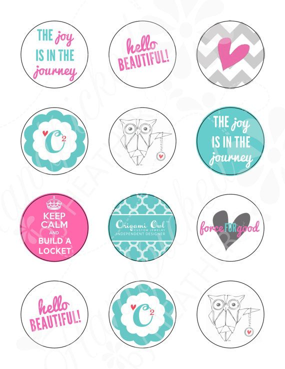 Cupcake Toppers Printable   Origami Owl by HandpickedbyHeather, $5.00