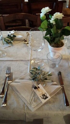 Country table setting  with olives branches and Roses #tuscany#torreacona