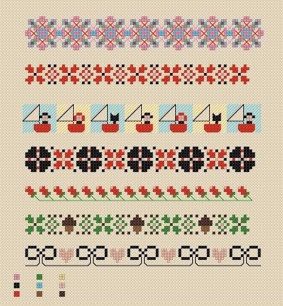Border patterns - Maud Stitch, etsy