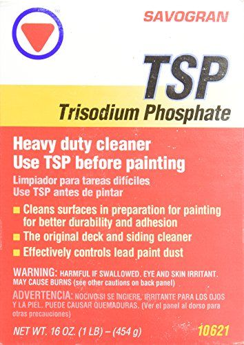 Savogran 10621 Trisodium Phosphate (TSP) 1LB (16oz) - A non-sudsing powdered Trisodium Phosphate compound that is formulated for heavy duty cleaning. Preferred by painting and cleaning professionals for removing heavy deposits of greasy grime, smoke, soot stains and chalked paint from walls, woodwork and floors. Removes mildew and mildew stains when...