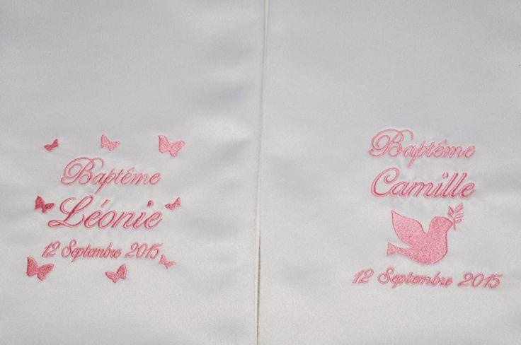 Pour jumeaux:2 écharpes/étoles de baptême bébé/enfant papillons/colombe personnalisée brodée argenté garçon ou fille : Mode Bébé par lbm-creation
