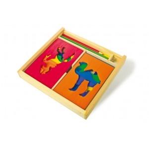 Houten #Stencil Set is handig en hiermee kan je eenvoudig je eigen dier tekenen. #speelgoed