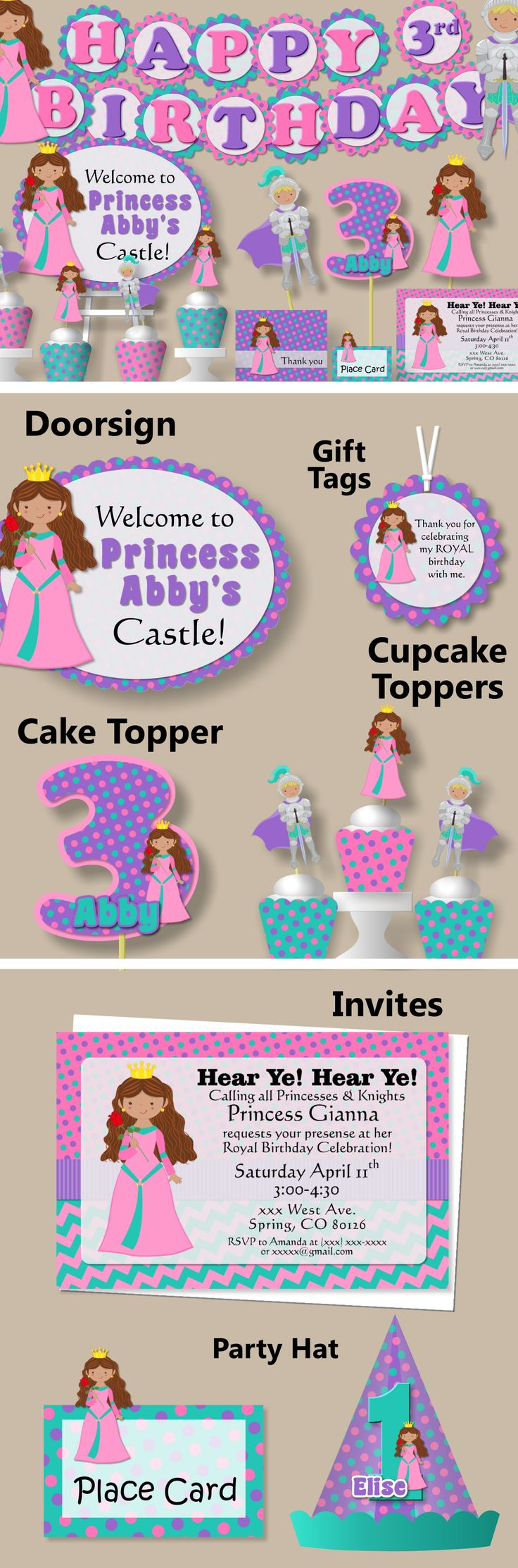 Princess and Knight Birthday Party Decorations - Package, Banner, Favor Tags, Cupcake Toppers, Invitations, Party Hat #bcpaperdesigns