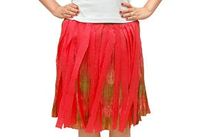 Make a Hawaiian grass skirt out of party streamers.