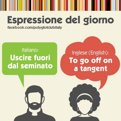 Italian / English idiom:  To go off on a tangent. (I'll need this one...)