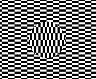 This visual high was created by Japanese artist Hajime Ouchi in 1977. It works much the same way as other optical art highs—by tricking our visual system into perceiving motion, color, or distorted perspective within a stationary two-dimensional graphic.