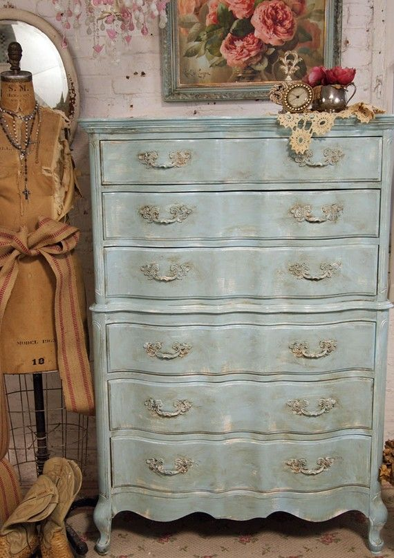 Vintage Painted Cottage Chic Shabby Aqua French Provincial Dresser