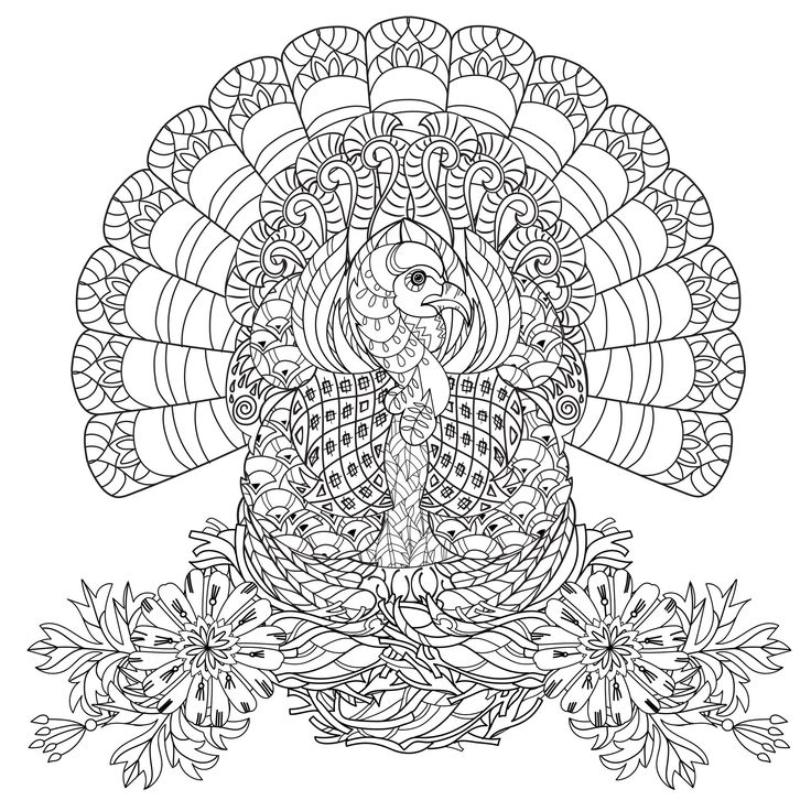 Beautiful Turkey Very Well Decorated With Flowers The Perfect Coloring Page